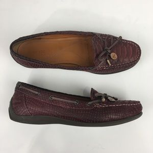 Geox Leather Python Snakeskin Print Loafers